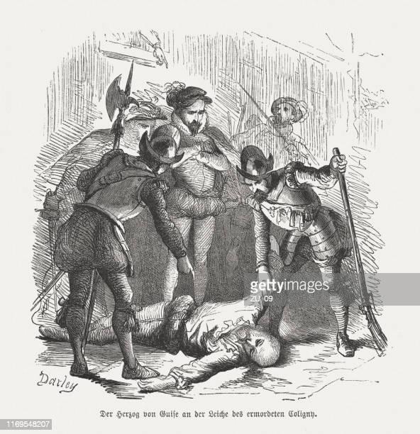 illustrations, cliparts, dessins animés et icônes de l'assassinat de gaspard de coligny ii, gravure sur bois, publié en 1876 - protestantisme