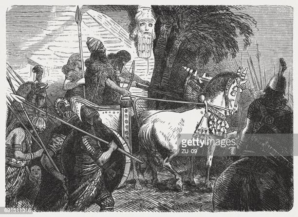 the assyrian army goes to war, wood engraving, published 1880 - 8th century bc stock illustrations, clip art, cartoons, & icons