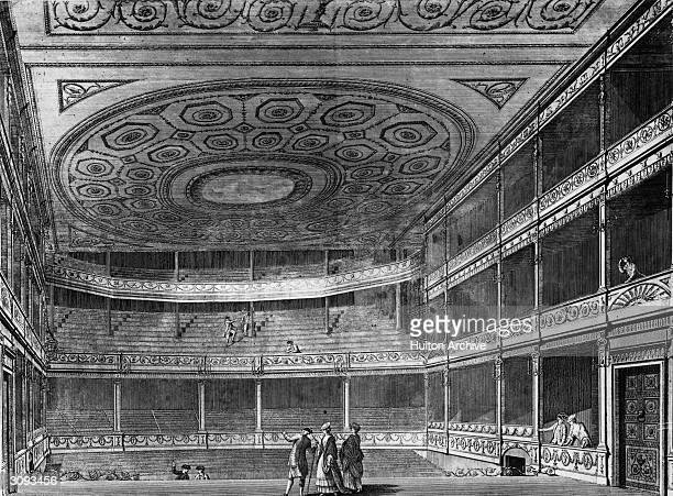 The auditorium of the second Drury Lane theatre in London, viewed from the stage.