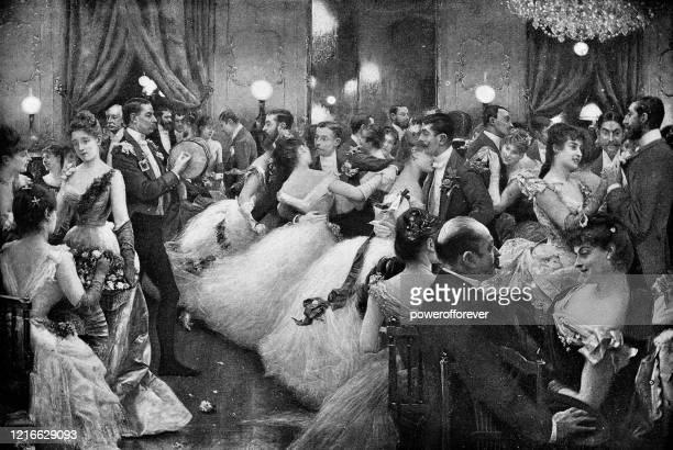 the ball by julius leblanc stewart - 19th century - ballroom dancing stock illustrations