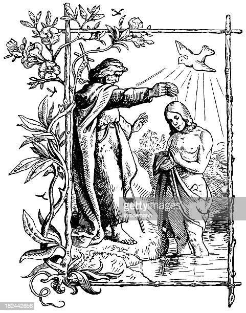 illustrazioni stock, clip art, cartoni animati e icone di tendenza di il battesimo di gesù - colomba pasqua