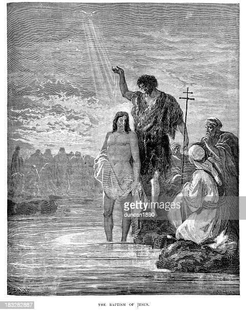 ilustraciones, imágenes clip art, dibujos animados e iconos de stock de el bautismo de jesus - san juan bautista