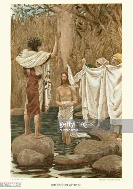 the baptism of jesus - baptism stock illustrations