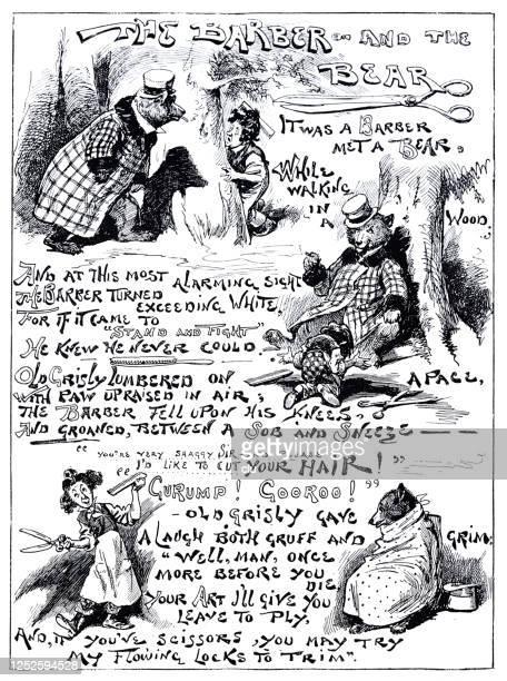 illustrations, cliparts, dessins animés et icônes de les histoires d'ours de barbier - coiffeur humour