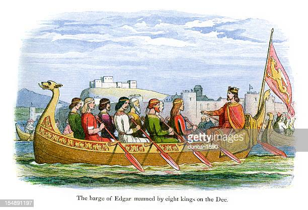 The Barge of Edgar manned by eight Kings