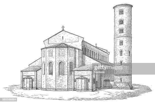 die basilika sant' apollinare in classe - byzanz stock-grafiken, -clipart, -cartoons und -symbole