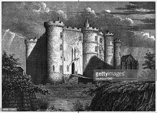 the bastille in paris, france engraving - artillery stock illustrations