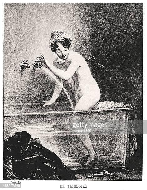 illustrazioni stock, clip art, cartoni animati e icone di tendenza di il bagno - donna nuda
