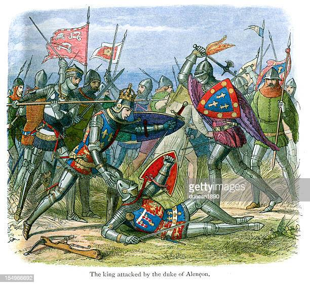 the battle of agincourt - france stock illustrations