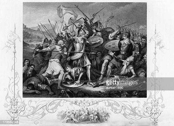 the battle of agincourt - henry v of england stock illustrations, clip art, cartoons, & icons