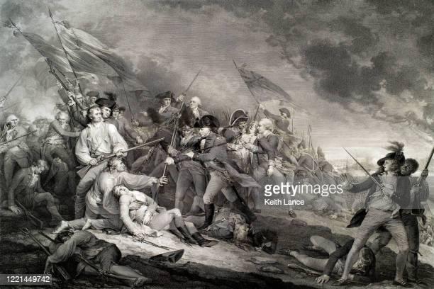 the battle of bunker hill, 1775 - american revolution stock illustrations