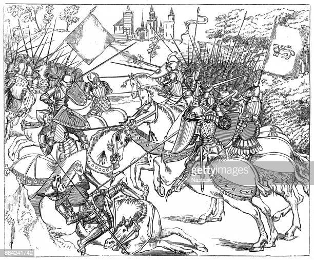 the battle of crecy - circa 14th century stock illustrations, clip art, cartoons, & icons