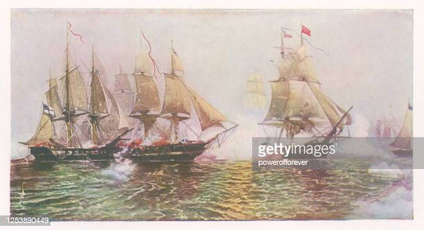 the battle of lake erie by julian o. davidson - 19th century - bang boat stock illustrations