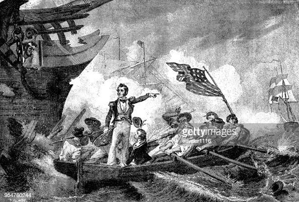 the battle of lake erie during the war of 1812 - lake erie stock illustrations, clip art, cartoons, & icons