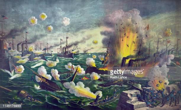 the battle of manila bay - battleship stock illustrations