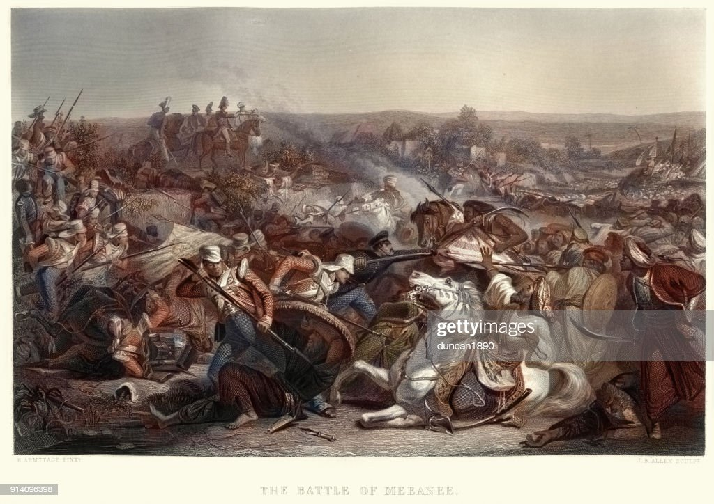 The Battle of Miani (or Battle of Meeanee), 1843 : stock illustration
