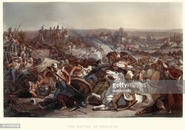 the battle of miani (or battle of meeanee), 1843 - british culture stock illustrations