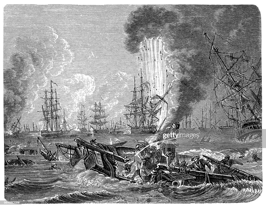 The Battle of Navarino was a naval battle fought on 20 October 1827, during the Greek War of Independence (1821–32), in Navarino Bay (modern Pylos), on the west coast of the Peloponnese peninsula, in the Ionian Sea : stock illustration