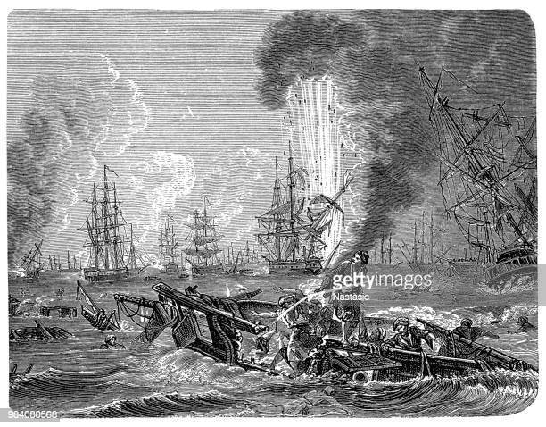 The Battle of Navarino was a naval battle fought on 20 October 1827, during the Greek War of Independence (1821–32), in Navarino Bay (modern Pylos), on the west coast of the Peloponnese peninsula, in the Ionian Sea