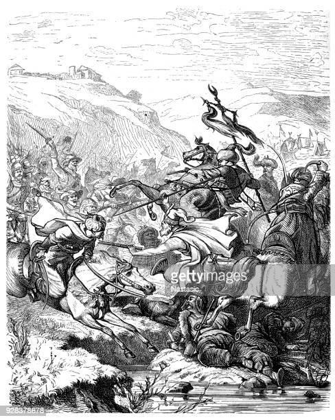 stockillustraties, clipart, cartoons en iconen met de slag bij van saint gotthard werd uitgevochten op 1 augustus 1664 als onderdeel van de oostenrijks-turkse oorlog (1663-1664), tussen een leger van habsburg en een ottomaanse leger - ottomane