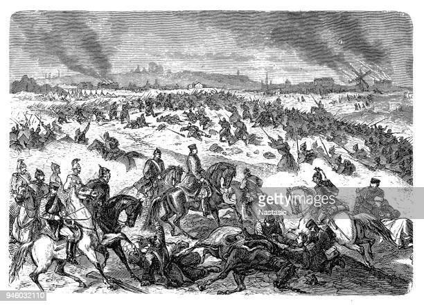 the battle of saint-quentin on january 19, 1871 between the french army and the german 1st army was a battle of the franco-prussian war - battlefield stock illustrations, clip art, cartoons, & icons