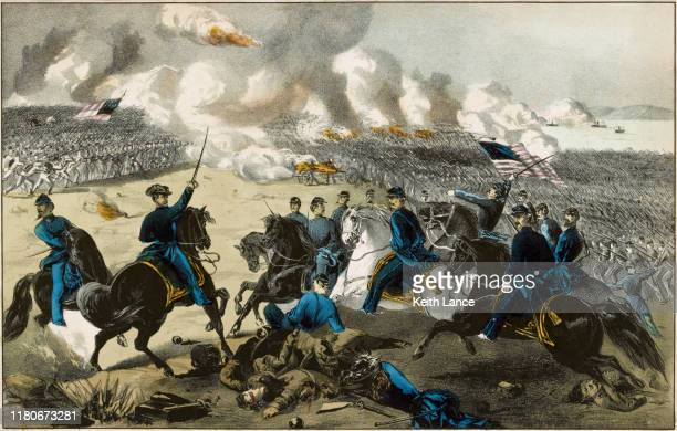 the battle of shiloh, 1862 - ulysses s grant stock illustrations