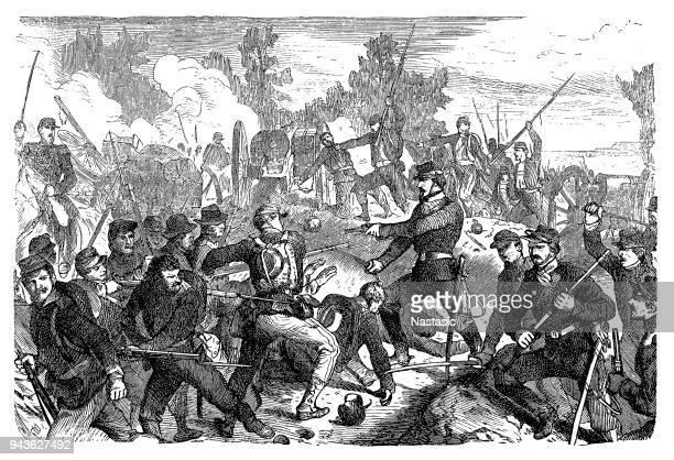 the battle of spotsylvania court house, sometimes more simply referred to as the battle of spotsylvania - american civil war stock illustrations