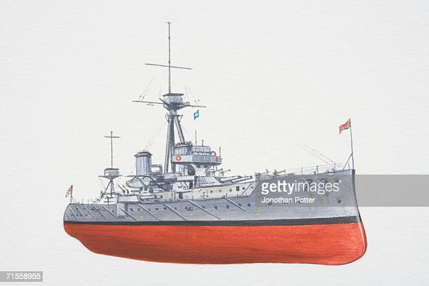 The battleship Dreadnought with union jack flag flying at the front of the ship.