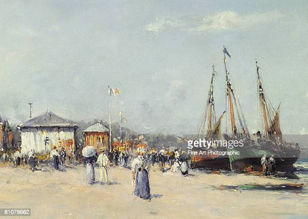 the beach at deauville, france - normandy stock illustrations