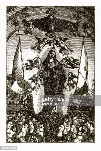 De verfraaiing van St. Ursula christelijke symboliek gravure