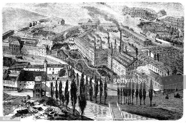 the beer brewery in klein-schwechat near vienna from 1866 - industrial revolution stock illustrations