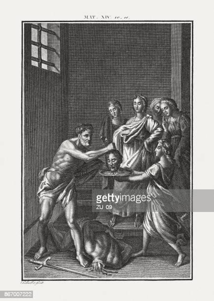 the beheading of john the baptist (matthew 14), published c.1850 - salome stock illustrations