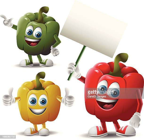 the bell peppers: 3 in 1 - bell pepper stock illustrations, clip art, cartoons, & icons