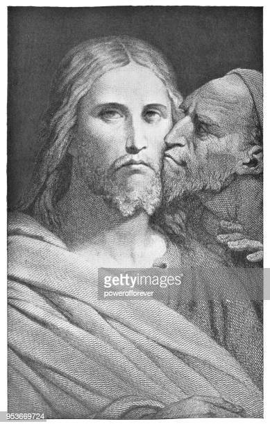 the betrayer's kiss by ary scheffer - 19th century - judas iscariot stock illustrations