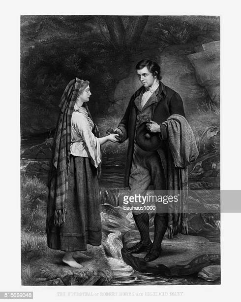 the betrothal of robert burns and highland mary engraving, 1886 - flirting stock illustrations, clip art, cartoons, & icons