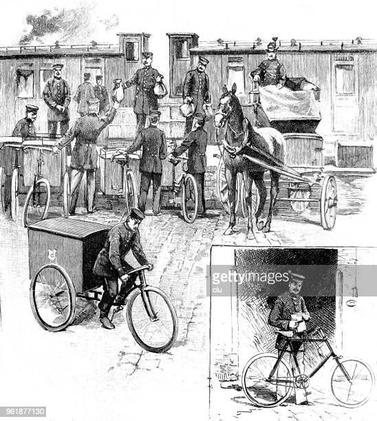 the bicycle in the service of the post office - post office stock illustrations, clip art, cartoons, & icons