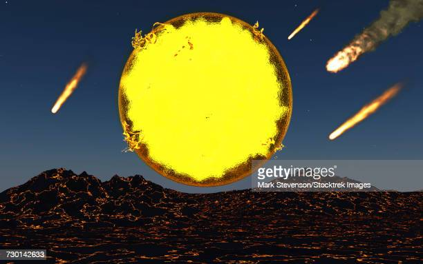 The birth of a new planet as meteorites and asteroids bombard the worlds lava surface.