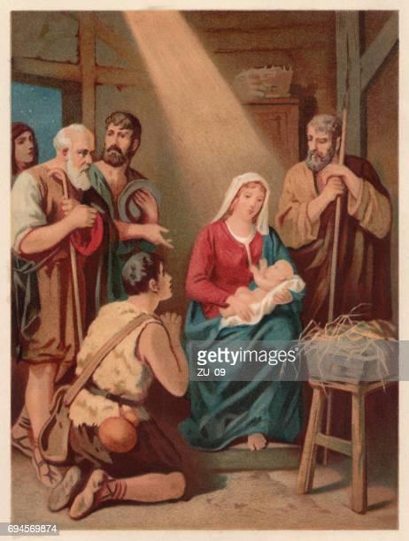 illustrazioni stock, clip art, cartoni animati e icone di tendenza di the birth of christ, chromolithograph, published in 1886 - san giuseppe