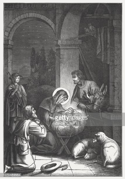 illustrazioni stock, clip art, cartoni animati e icone di tendenza di the birth of christ, wood engraving, published in 1888 - san giuseppe
