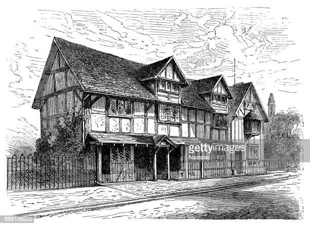 the birthplace of william shakespeare (1564 - 1616), stratford - stratford london stock illustrations