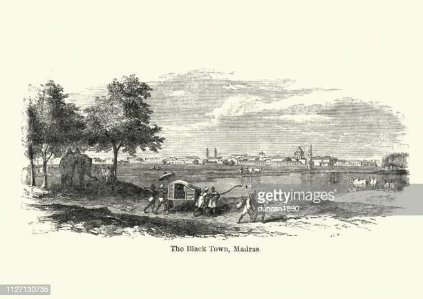 the black town, madras, india, 19th century - tamil nadu stock illustrations