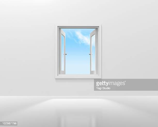 ilustraciones, imágenes clip art, dibujos animados e iconos de stock de the blue sky which can be seen from the opened win - ventana abierta