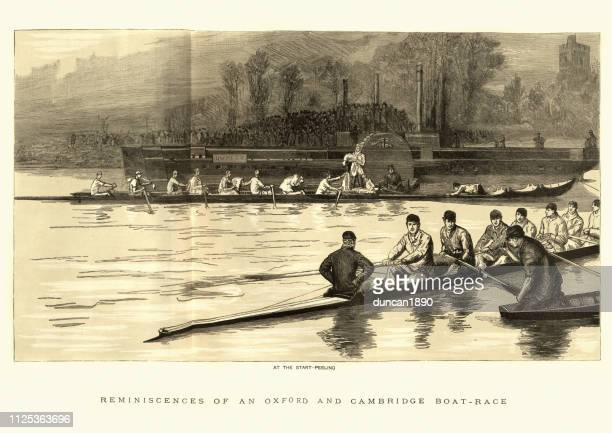 ilustrações de stock, clip art, desenhos animados e ícones de the boat race, oxford vs. cambridge, 19th century - cambridge cambridgeshire