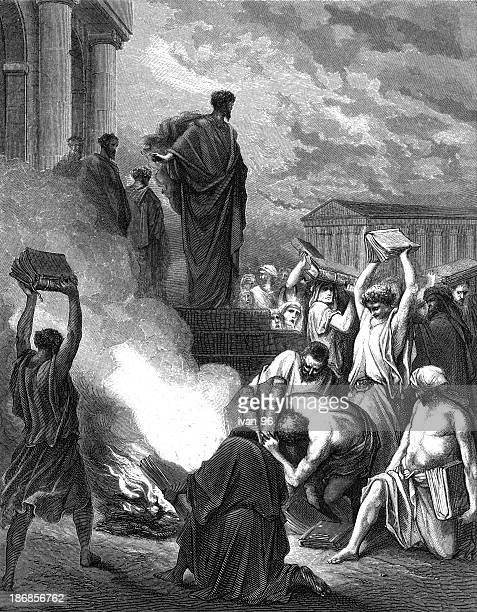 the books are burned at ephesus - paul the apostle stock illustrations