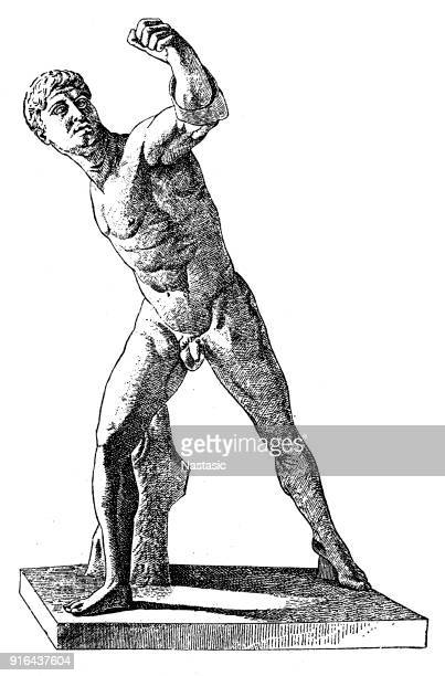the borghese gladiator - greek people stock illustrations, clip art, cartoons, & icons