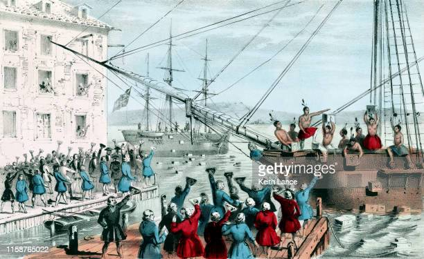 the boston tea party, 1773 - 18th century stock illustrations