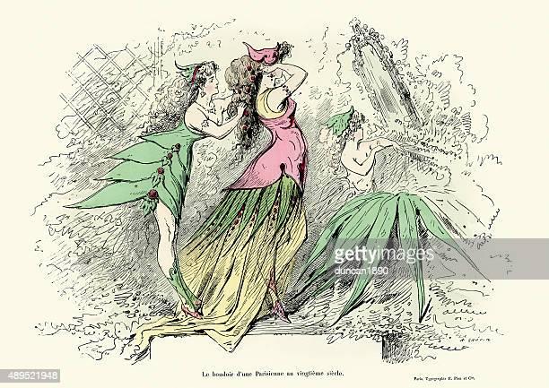 illustrazioni stock, clip art, cartoni animati e icone di tendenza di le boudoir di parisien lady del xx secolo - 20th century style