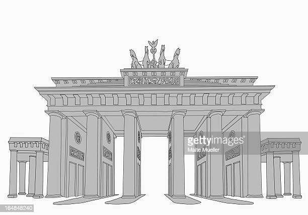 the brandenburg gate - brandenburg gate stock illustrations, clip art, cartoons, & icons