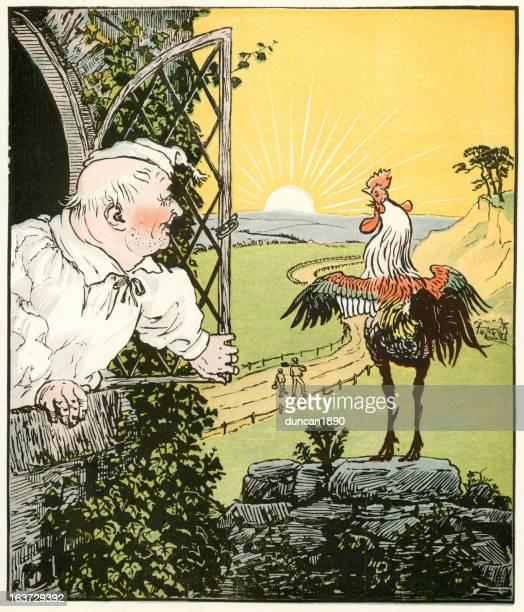 ilustrações, clipart, desenhos animados e ícones de o amanhecer e o novo manhã - cockerel