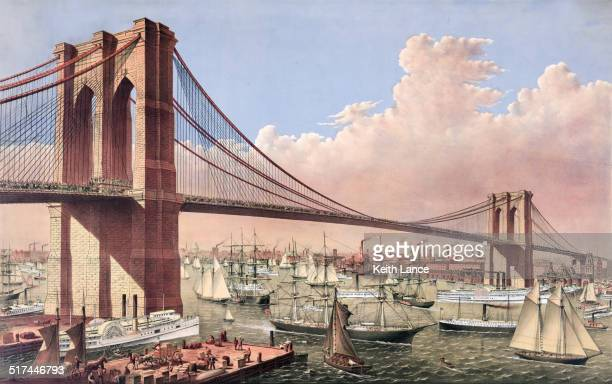 the brooklyn bridge - brooklyn bridge stock illustrations, clip art, cartoons, & icons